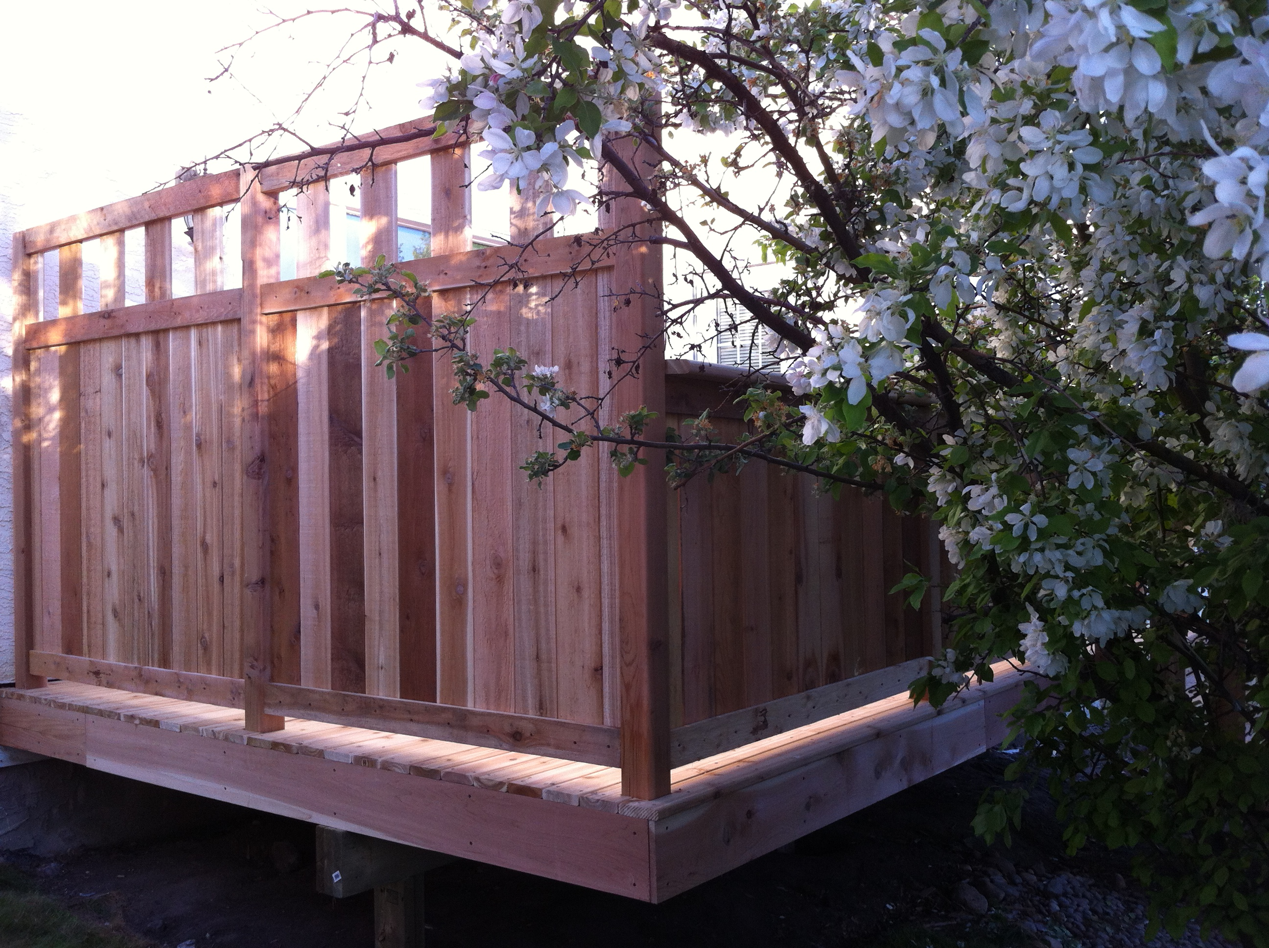 cedar deck railing with privacy panel deckrative designs ltd